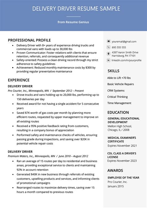 delivery driver resume  writing tips resume genius