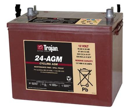 24 volt batterie trojan battery 24 agm 12 volt 76 hour agm cycle battery