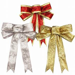 15CM Red Silver Gold Sparkling Glitter Christmas Bow ...