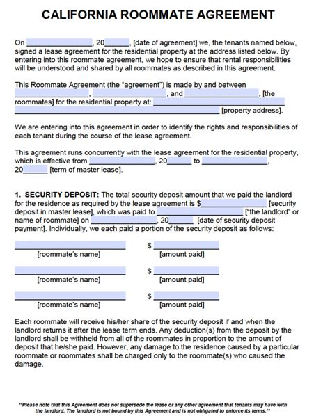california roommate agreement template  word