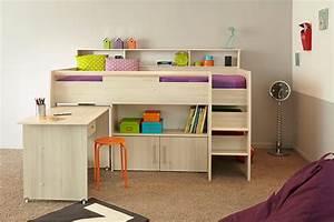 Lit Combiné Double : lit combine kurt acacia clair ~ Premium-room.com Idées de Décoration