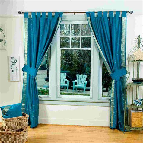 indo turquoise tab top sari sheer curtain 43 in x 84 in