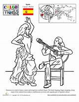 Flamenco Dance Worksheets Coloring Pages Worksheet Spanish Education Spain Geography Culture Places Sheets Colouring Hispanic Heritage Dancers Month Around Traditional sketch template