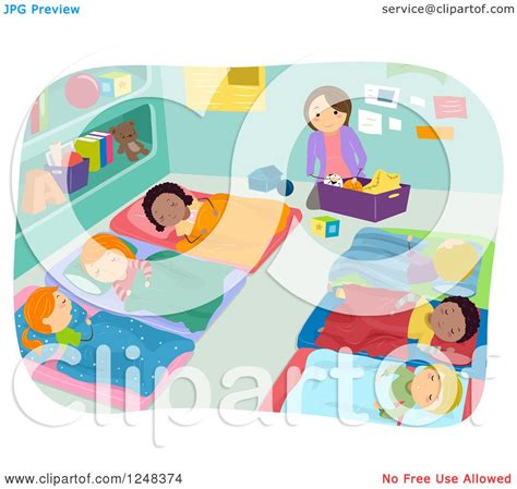 clipart of a cleaning while students take nap time 284 | Clipart Of A Teacher Cleaning While Students Take Nap Time Royalty Free Vector Illustration 10241248374