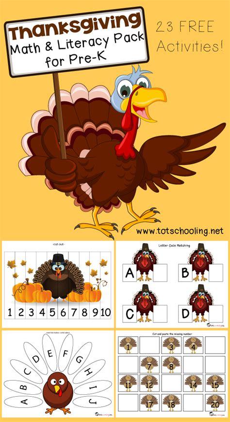 free thanksgiving math literacy printable for prek totschooling toddler preschool