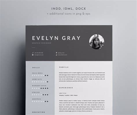 page resume template indd docx  blackdotresumes