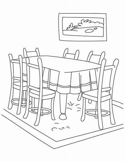 Coloring Table Dining Pages Dinning Thanksgiving Printable