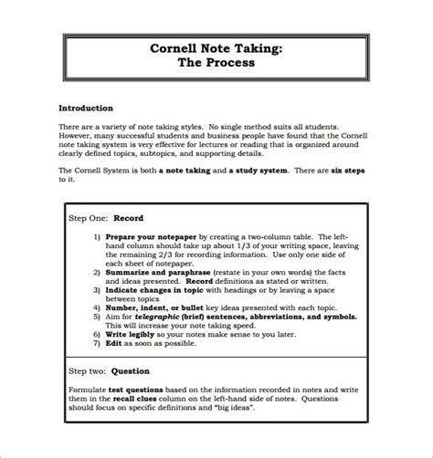 cornell notes template   word  format