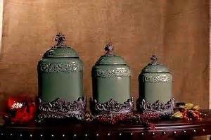 designer kitchen canister sets design kitchen canister set of 3 w lids fleur de lis tuscan scroll