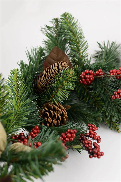 pine pine cone berry christmas garland with burlap bows 6ft