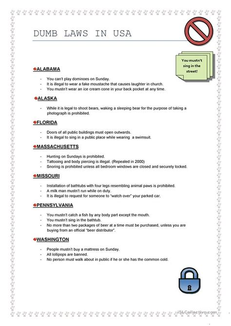 dumb laws  usa worksheet  esl printable worksheets