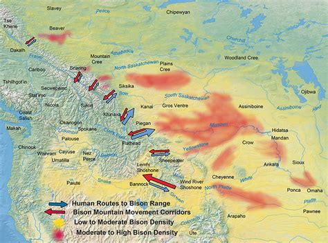 bison range map american salmon current rivers valleys trails across
