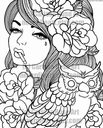 Coloring Pages Tattoo Printable Digital Rose Adult