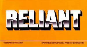 1983 Plymouth Reliant Owners Manual User Guide Reference