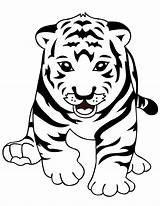 Tiger Coloring Pages Simple Fish sketch template