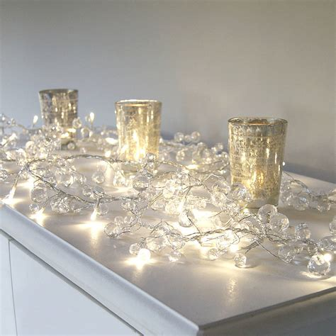 led garland xmas lights clear crystal led light garland by red lilly