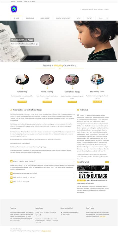 Wagga Web Design  New Music Teacher Website