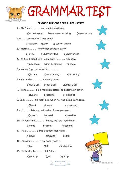 grammar test worksheet  esl printable worksheets