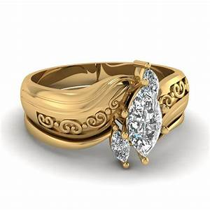 marquise three diamond engagement wedding ring set in 14k With marquee wedding ring