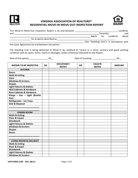 Move In Inspection Checklist by Virginia Move In Move Out Inspection Report Free