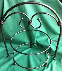 southern living plate rack pie stand  tier black wrought iron