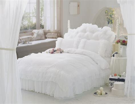 white comforter sets queen size luxury snow white bedding sets king 4pcs lace ruffle