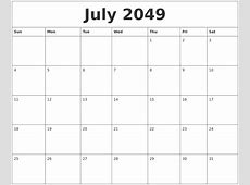 July 2049 Printable Calendar Pages