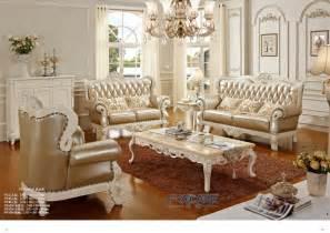 luxury european royal style golden oak solid wood leather - Oak Livingroom Furniture