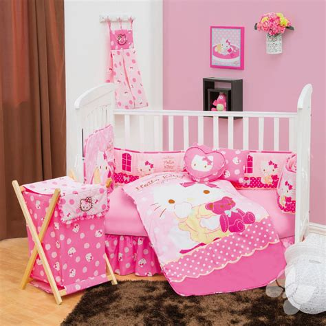 hello kitty crib set new hello kitty pink baby crib bedding nursery set 5