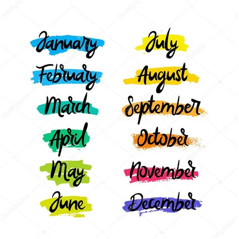 Lettering. Months of the year — Stock Vector © chekat ...