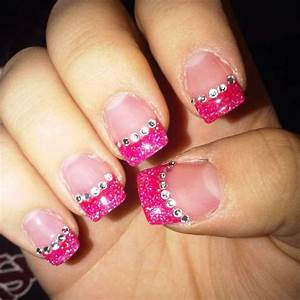 pink tip nails with jewels | if only i was asian ...