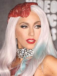 Lady Gaga White And Blue Streaked Hairstyle More Fashionable