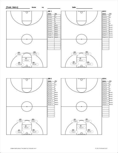 basketball lineup sheet screenshot basketball practice