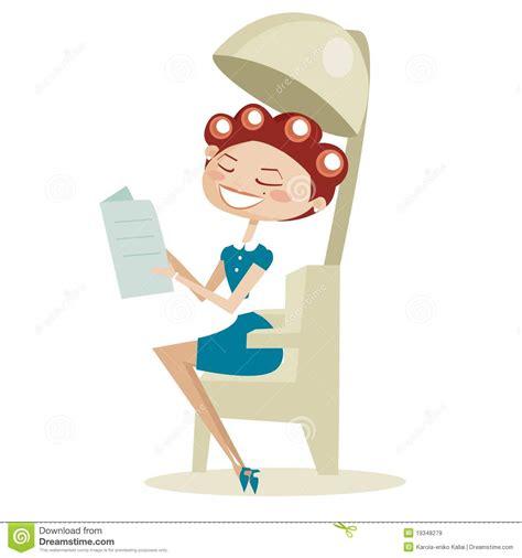mulher retro dos desenhos animados no sal 227 o de beleza de cabelo imagens de stock royalty free