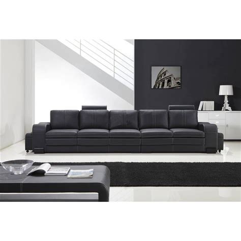 canapé lit cuir grand canapé droit en cuir pleine fleur fabio 5 places
