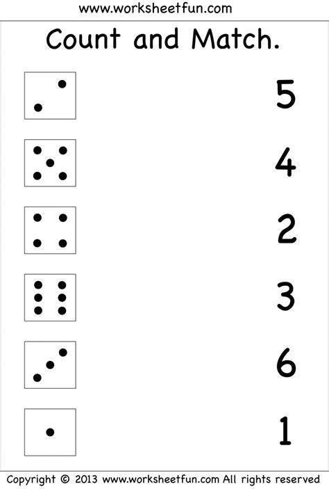kindergarten number worksheets printable numbers count and match free printable worksheets
