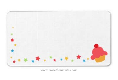 blank birthday labels  cupcake  colorful confetti