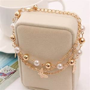 Bohemian Gold Plated Chain Multilayer Beads Stretch Charm ...