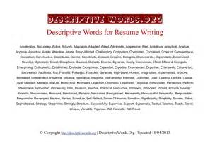 adjectives for resume descriptive words list of adjectives for resumes self descriptive descriptive words list of