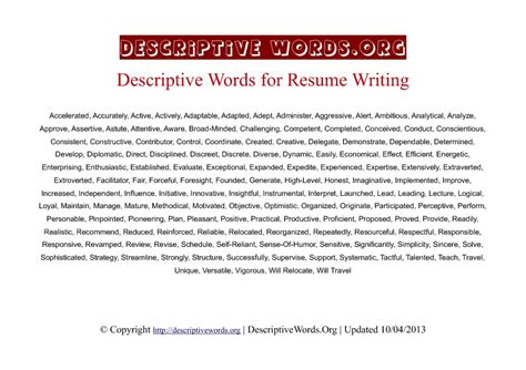 Adjectives For Resumes by Descriptive Words List Of Adjectives For Resumes Self Descriptive Descriptive Words List Of