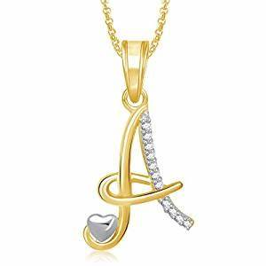 buy meenaz jewellery gold plated 39a39 letter pendant for With letter pendant online