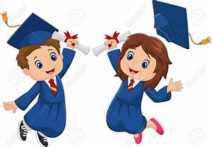 Graduation clipart kid vector - Pencil and in color ...