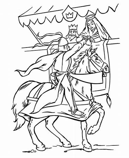 Medieval Coloring Knight Knights Sheets Fantasy Pages
