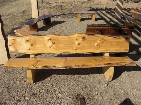 large  edge knotty pine bench   pondside bench
