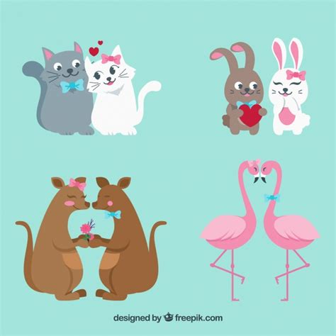 Free for commercial use no attribution required high quality images. Flat valentine's day animal couples collection   Free Vector