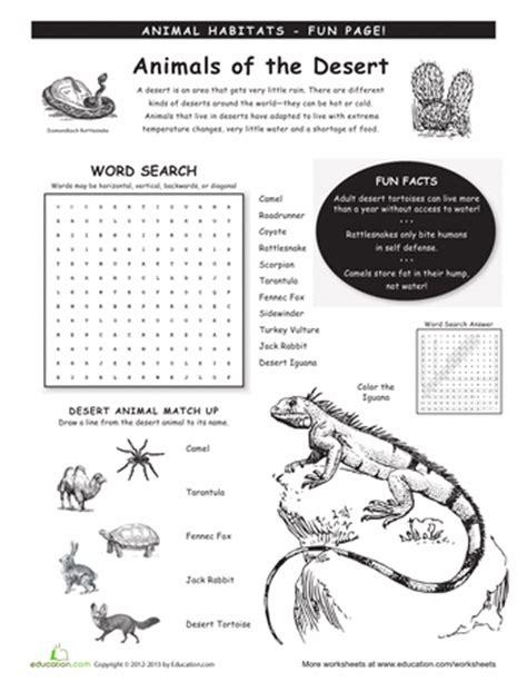 animal habitats worksheets education