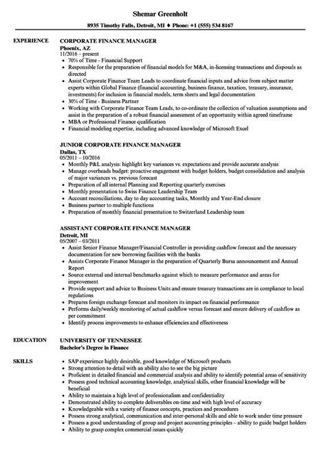 Finance Manager Resume by Corporate Finance Manager Resume Sles Velvet