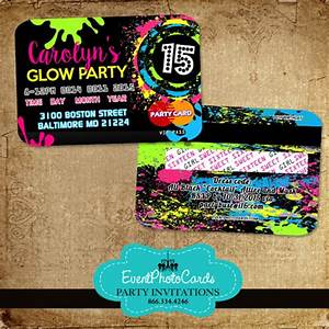 Princess Party Invites Glow Party Sweet 15 Credit Card Style Invitations Neon