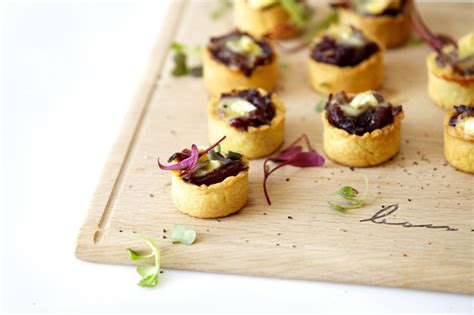 canapés ideas mini caramelised and brie tartlets