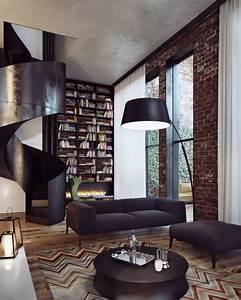 mur de briques element de linterieur dun penthouse a kiev With nettoyage tapis avec renovation de canapé en cuir